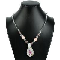 Kristall Halskette, mit Lampwork, plattiert, für Frau, mehrere Farben vorhanden, 2SträngeStrang/Menge, verkauft von Menge