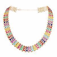 Eisen Halsketten, goldfarben plattiert, für Frau & Emaille, farbenfroh, frei von Nickel, Blei & Kadmium, verkauft per ca. 17.7 ZollInch Strang