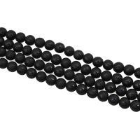 Natürliche schwarze Achat Perlen, Schwarzer Achat, rund, buddhistischer Schmuck & om mani padme hum & verschiedene Größen vorhanden & satiniert, schwarz, verkauft von Strang