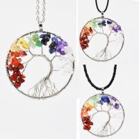Naturstein Halskette, mit PU Leder & Messing, plattiert, verschiedene Stile für Wahl & für Frau, 50mm, verkauft per ca. 19.68 ZollInch Strang