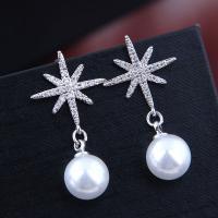 Befestiger Zirkonia Messing Ohrring, mit Kunststoff Perlen, plattiert, Micro pave Zirkonia & für Frau, keine, frei von Nickel, Blei & Kadmium, 32*10mm, verkauft von Paar