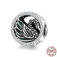 Befestiger Zirkonia Sterlingsilber Perlen, 925er Sterling Silber, Oxidation, Micro pave Zirkonia, 11x11mm, verkauft von PC