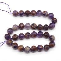 Lila+Phantom+Quarz Perle, rund, verschiedene Größen vorhanden, verkauft von Strang