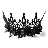 Filz Haarkranz, mit PU Leder & Kristall & Edelstahl & Zinklegierung, handgemacht, Halloween Schmuck & für Frau, schwarz, 29.5x13.2cm, verkauft von Strang