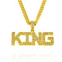 Zinklegierung Pullover Halskette, plattiert, für den Menschen & mit Strass, keine, 68x24mm, Länge:ca. 27.6 ZollInch, 5SträngeStrang/Menge, verkauft von Menge