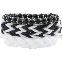 Gewachsten Baumwollkordel Armband-Set, mit Kristall, für Frau, weiß und schwarz, frei von Nickel, Blei & Kadmium, 220mm, 3SträngeStrang/setzen, verkauft von setzen
