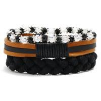 Gewachsten Baumwollkordel Armband-Set, mit Kunstleder & Kristall, für Frau, frei von Nickel, Blei & Kadmium, 220mm, 3SträngeStrang/setzen, verkauft von setzen
