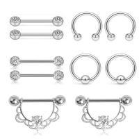Edelstahl Brustpiercing Ring, für Frau & mit Strass, 5PC/setzen, verkauft von setzen
