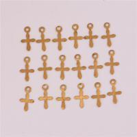 Messing Kreuz Anhänger, originale Farbe, frei von Nickel, Blei & Kadmium, 6.3x11.8mm, Bohrung:ca. 1mm, ca. 560PCs/Tasche, verkauft von Tasche