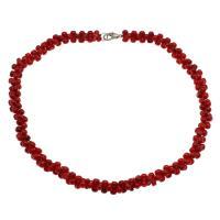 Koralle Halskette, Messing Karabinerverschluss, Platinfarbe platiniert, für Frau, rot, 10*5mm, verkauft per ca. 17.7 ZollInch Strang