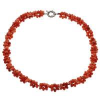 Coral Strickjacke-Kette Halskette, Koralle, Messing Federring Verschluss, Platinfarbe platiniert, für Frau, rote Orange, 6*4mm, verkauft per ca. 23.6 ZollInch Strang