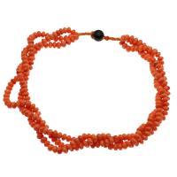 Koralle Halskette, mit Nylonschnur & Schwarzer Achat, für Frau & 3-Strang, rote Orange, 7*5mm-8*6mm, verkauft per ca. 19.6 ZollInch Strang
