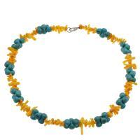 Koralle Halskette, mit Synthetische Türkis, Messing Karabinerverschluss, Platinfarbe platiniert, für Frau, 9*3mm-19*3mm,14*8mm, verkauft per ca. 17.7 ZollInch Strang