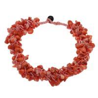 Koralle Halskette, mit Nylonschnur & Schwarzer Achat, für Frau, rote Orange, 8*5mm-22*7mm, verkauft per ca. 18.9 ZollInch Strang