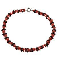 Koralle Halskette, mit Schwarzer Achat, Messing Federring Verschluss, Platinfarbe platiniert, für Frau, keine, 6*3mm, verkauft per ca. 19.6 ZollInch Strang