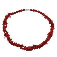 Koralle Halskette, Messing Karabinerverschluss, antik silberfarben plattiert, für Frau, rot, 15*11mm-15*12mm,9mm, verkauft per ca. 19.6 ZollInch Strang