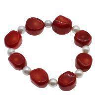 Korallen Armband, Koralle, mit Natürliche kultivierte Süßwasserperlen, für Frau, rot, 16*13*12mm-17*15*11mm, verkauft per ca. 7.5 ZollInch Strang