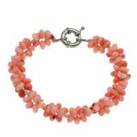 Korallen Armband, Koralle, Messing Federring Verschluss, Platinfarbe platiniert, für Frau, 7*4mm, verkauft per ca. 7.5 ZollInch Strang