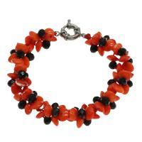 Korallen Armband, Koralle, mit Schwarzer Achat, Messing Federring Verschluss, Platinfarbe platiniert, für Frau, rote Orange, 8*4mm, verkauft per ca. 7.5 ZollInch Strang
