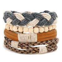 Gewachsten Baumwollkordel Armband-Set, mit Kunstleder & Hanfgarn & PU Leder & Holz, unisex, frei von Nickel, Blei & Kadmium, 180mm, 4SträngeStrang/setzen, verkauft von setzen