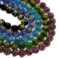 Millefiori Lampwork Perle, rund, verschiedene Größen vorhanden, keine, Bohrung:ca. 0.8mm, Länge:15.7 ZollInch, 5SträngeStrang/Tasche, verkauft von Tasche