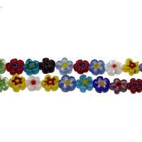Millefiori Lampwork Perle, Blume, gemischtes Muster, 11*3mm, Bohrung:ca. 0.5mm, Länge:15.7 ZollInch, 5SträngeStrang/Tasche, verkauft von Tasche