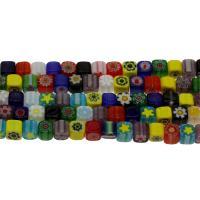 Millefiori Lampwork Perle, gemischtes Muster & verschiedene Größen vorhanden, Bohrung:ca. 0.8mm, Länge:15.7 ZollInch, 5SträngeStrang/Tasche, verkauft von Tasche