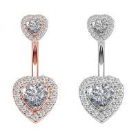 Edelstahl -Bauch-Ring, Herz, plattiert, Micro pave Zirkonia & für Frau, keine, 13x14mm, verkauft von PC