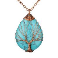 Naturstein Halskette, mit Messing, plattiert, verschiedenen Materialien für die Wahl & für Frau, 41x30x16mm, verkauft per ca. 20.47 ZollInch Strang