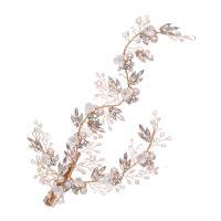 Braut Haar Blumen, Zinklegierung, mit ABS-Kunststoff-Perlen & Kristall, goldfarben plattiert, für Frau & mit Strass, frei von Nickel, Blei & Kadmium, 105x220mm, verkauft von PC