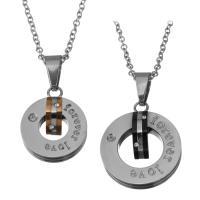 Edelstahl Ehepaar Halskette, mit Verlängerungskettchen von 2Inch, Oval-Kette & Micro pave Zirkonia, originale Farbe, 18x22.5mm,2mm,23x27.5mm,2mm, Länge:ca. 20 ZollInch, 2SträngeStrang/setzen, verkauft von setzen