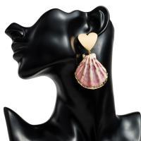 Muschel Tropfen Ohrring, mit Zinklegierung, plattiert, für Frau, 64x36mm, verkauft von Paar