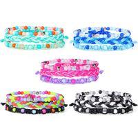 Gewachsten Baumwollkordel Armband-Set, mit Glasperlen, für Frau, keine, frei von Nickel, Blei & Kadmium, 160mm, 3SträngeStrang/setzen, verkauft von setzen