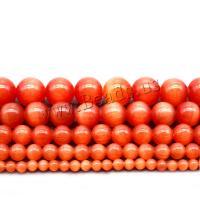Cats Eye Perlen Schmuck, Katzenauge, rund, poliert, DIY & verschiedene Größen vorhanden, rote Orange, Bohrung:ca. 1mm, verkauft von Strang