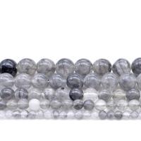 Grauer Quarz Perle, rund, DIY & verschiedene Größen vorhanden, Bohrung:ca. 1mm, verkauft von Strang