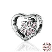 Befestiger Zirkonia Sterlingsilber Perlen, 925er Sterling Silber, plattiert, Micro pave Zirkonia & hohl, 12x10mm, verkauft von PC