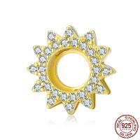 Befestiger Zirkonia Sterlingsilber Perlen, 925er Sterling Silber, vergoldet, DIY & Micro pave Zirkonia & hohl, 12x12mm, verkauft von PC