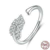 925er Sterling Silber Manschette Fingerring, platiniert, Micro pave Zirkonia & für Frau, 1.50mm, Größe:6-8, verkauft von PC