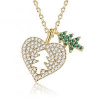 Messing Halskette, goldfarben plattiert, Oval-Kette & Micro pave Zirkonia & für Frau, frei von Nickel, Blei & Kadmium, 14.20x16.50mm, verkauft per ca. 16.1 ZollInch Strang