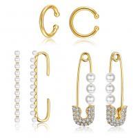 Messing Ohrring-Set, mit Kunststoff Perlen, goldfarben plattiert, Micro pave Zirkonia & für Frau, frei von Nickel, Blei & Kadmium, 9x29.5mm, 11.5x13.5mm, 11.5x38.5mm, verkauft von setzen