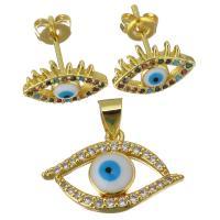 Edelstahl Mode Schmuckset, Anhänger, blöser Blick, goldfarben plattiert, Micro pave Zirkonia & für Frau, 20.5x13mm,12x9mm, Bohrung:ca. 3.5mm, verkauft von setzen