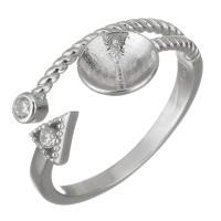 925er Sterling Silber Ringfassung, Micro pave Zirkonia, Silberfarbe, 9mm,7mm,0.5mm, Größe:6, 5PCs/Menge, verkauft von Menge
