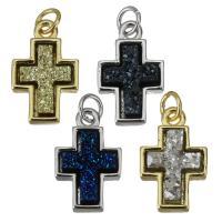 Messing Kreuz Anhänger, mit Harz, plattiert, keine, frei von Nickel, Blei & Kadmium, 11x17.50x4.50mm, Bohrung:ca. 3mm, 10PCs/Menge, verkauft von Menge