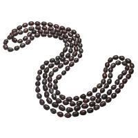 Süßwasserperlen Pullover Halskette, Natürliche kultivierte Süßwasserperlen, Reis, für Frau, schwarz, 7-9mm, verkauft per ca. 64 ZollInch Strang