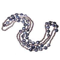 Süßwasserperlen Pullover Halskette, Natürliche kultivierte Süßwasserperlen, für Frau, gemischte Farben, 5-12mm, verkauft per ca. 64 ZollInch Strang