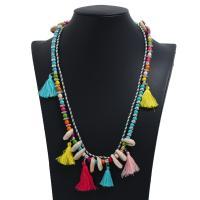 Muschel Franse Halskette, mit Baumwollfaden, plattiert, für Frau, keine, verkauft von Strang
