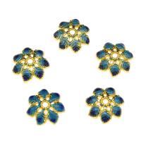 Zinklegierung Perlenkappe, Blume, goldfarben plattiert, Emaille, frei von Nickel, Blei & Kadmium, 15x4.3mm, Bohrung:ca. 2mm, 10PCs/Tasche, verkauft von Tasche