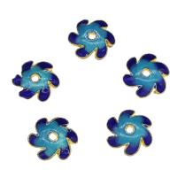 Zinklegierung Perlenkappe, Blume, goldfarben plattiert, Emaille, blau, frei von Nickel, Blei & Kadmium, 10x2.7mm, Bohrung:ca. 1.4mm, 10PCs/Tasche, verkauft von Tasche