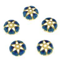 Zinklegierung Perlenkappe, goldfarben plattiert, Emaille, blau, frei von Nickel, Blei & Kadmium, 14.7x5.2mm, Bohrung:ca. 2mm, 10PCs/Tasche, verkauft von Tasche