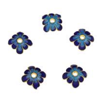 Zinklegierung Perlenkappe, Blume, goldfarben plattiert, Emaille, blau, frei von Nickel, Blei & Kadmium, 9.2x3.6mm, Bohrung:ca. 1.9mm, 10PCs/Tasche, verkauft von Tasche